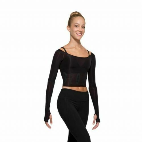 BLOCH Ladies Dance Long Sleeved Crop Top with Bloch Brand Logo Black